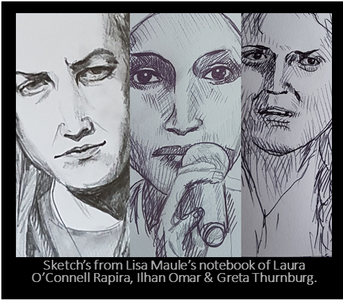 Sketches of determined women by Lisa Maule